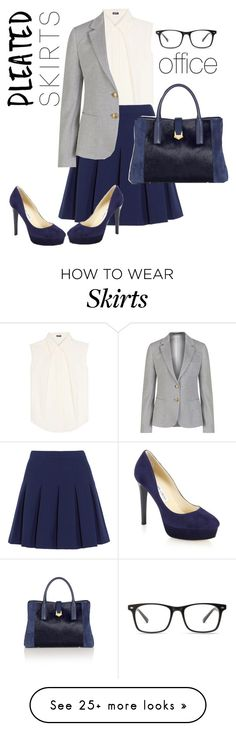 """""""pleated skirt for office"""" by freshdee on Polyvore featuring Jil Sander Navy, Diane Von Furstenberg, GANT, Jimmy Choo and pleatedskirts"""