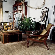 """Ralph Lauren Home Archives, """"Cape Lodge"""", Living Room detail, 2008; """"Inspired by an exotic estate with echoes of safari, a warm earth-toned palette weaves together colonial, campaign and Moderne furnishings in mahogany, rattan and tent canvas with vachetta leather, madras and brass."""""""