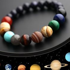 Stars & Solar System Beaded Bracelet Stack your wrists in solar system style! Our Stars & Solar System Beaded Bracelet showcases stunning gemstones that represent the sun, stars and planets. Making Bracelets With Beads, Bracelets For Men, Silver Bracelets, Fashion Bracelets, Beaded Bracelets, Diamond Earrings, Fashion Jewelry, Unique Earrings, Crystal Earrings