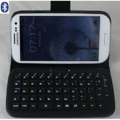 TOP® Wireless Removable Bluetooth Keyboard Leather flip case cover for samsung galaxy siii s3 i9300 in Black Color