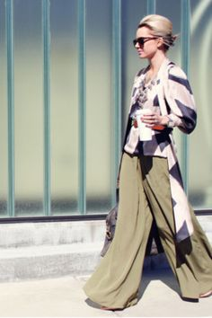 YSL Bag Karen Walker Sunglasses sage green billowy pants by Asos Pants Stella McCartney Blouse Street Chic, Street Style, Karen Walker Sunglasses, Vogue, Glamour, Hijab Fashion, Skort, Bago, Passion For Fashion
