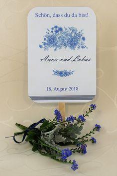 """Fächer """"Fleur"""" - Ein Fächer der auch gleichzeitig als Hochzeitsprogramm dient. So haben die Gäste zwischendurch etwas zum Lesen, und an heißen Tagen können sie sich etwas kühle Luft zufächern. Container, Word Reading, Canisters"""