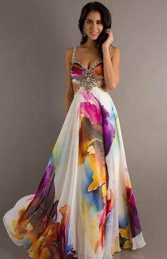 Printed Prom Dress Models - Fashion