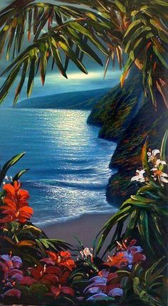 Steve Barton and Walfrido ~ Tropical Art Polynesian Art, Hawaiian Art, Caribbean Art, Tropical Art, Tropical Paintings, Tropical Beaches, Seascape Paintings, Tropical Paradise, Surf Art