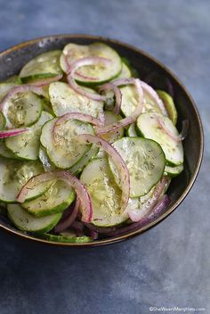 Onion Cucumber Salad Recipe shewearsmanyhats.com