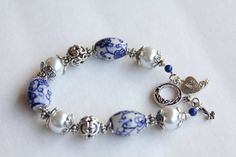Blue and White Faux Pearl Toggle Bracelet by IrishExpressions