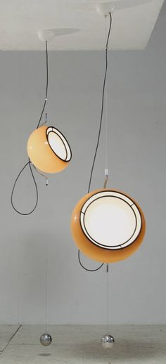 Pair Gae Aulenti Plastic Pendants for Guzzini, Italy, 1970s | From a unique…