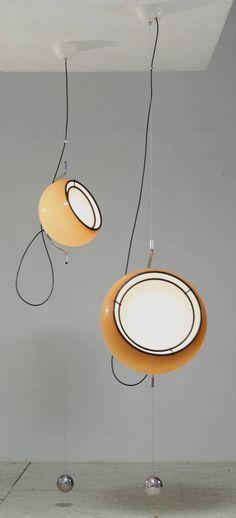 Pair Gae Aulenti Plastic Pendants for Guzzini, Italy, 1970s   From a unique…