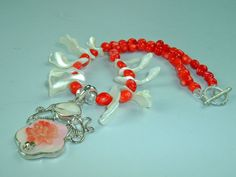 Orange Coral Mother of Pearl Necklace with by extravagantdesigns, $50.00