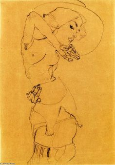 Standing Nude with Large Hat (Gertrude Schiele), Charcoal by Egon Schiele (1890-1918, Austria)