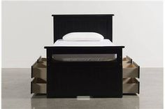 Summit Black Twin Panel Bed W/Double 4-Drawer Storage - Main