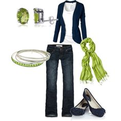 spring outfits with scarve and flats | Spring Outfits | blue & green | Fashionista Trends
