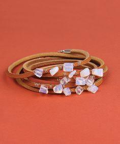 Leather Wrap Bracelet with Moon Stones
