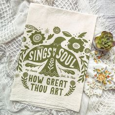 """""""then sings my soul, my Savior God to Thee - How great Thou Art"""" hymn tea towel with folk art bird and floralsThese towels make the perfectly unique gift for a host/hostess, housewarming gift, teacher or any special occasion!❮ OVERVIEW ❯» This listing is for one tea towel - olive print on a natural colored flour sack tea towel.❮ DETAILS ❯» 100% Natural Raw Cotton - Eco Friendly towels - natural in color(No chemical processing, no color treatment, no bleach)» Lint Free» Flour sack tea towel, very Then Sings My Soul, Yellow Towels, Coral Print, Duck Egg Blue, Bird Art, Tea Towels, House Warming, Folk Art, Unique Gifts"""
