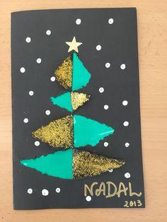"""Tarjeta felicitando la navidad echa con purpurina y papel de """"xarol"""""""