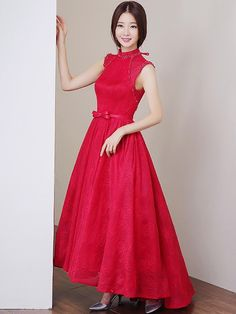 Red Belt Lace Qipao / Cheongsam Prom Dress with Open Back