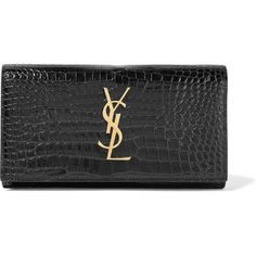 Saint Laurent Croc-effect patent-leather continental wallet ($745) ❤ liked on Polyvore featuring bags, wallets, black, croco wallet, yves saint laurent bags, croc wallet, snap wallet and yves saint laurent