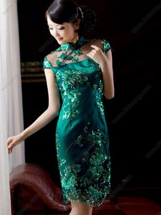 cheongsam dress | Women's Lace Green Knee-length Sequined flowers Cheongsam Dress ... LOVE LOVE LOVE!!