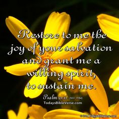 Restore to me the joy of your salvation and grant me a willing spirit to sustain me. Psalm 51:12 NIV