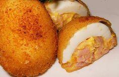 HUEVOS DUROS RELLENOS Y REBOZADOS   Mis Recetas Preferidas Good Food, Yummy Food, Kiss The Cook, Deviled Eggs, Crepes, Baked Potato, Catering, Tasty, Cooking