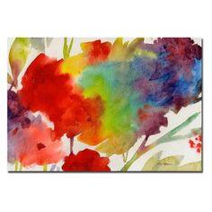 Rainbow Flowers Canvas Art by Sheila Golden | hayneedle.com