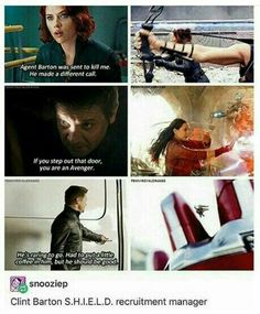 Clint Barton aka unofficial shield recruiter<<<hey look! It's a compilation of all Hawkeyes lines in all the avengers movies! Funny Marvel Memes, Marvel Jokes, Dc Memes, Avengers Memes, Funny Memes, Avengers Imagines, It's Funny, Funny Comics, Hilarious