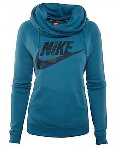 Nike Rally Printed Funnel Neck Hoodie Womens 684146-482 Blue Logo Hoody Size M