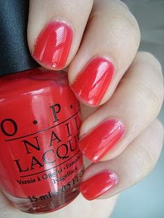 feeling slutty so I painted my nails red this morning ;) . OPI's Guy meets Galveston from the TX Collection.