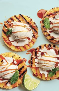 Barbecuing tonight? Try grilled pineapple topped with ice cream and caramel for a tasty and healthy dessert. Get the recipe at Chatelaine.com