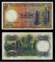 1950 Egypt 10 Pound Banknote Pick Number 23c Signature Leith-Ross Beautiful Fine or Much Better Currency
