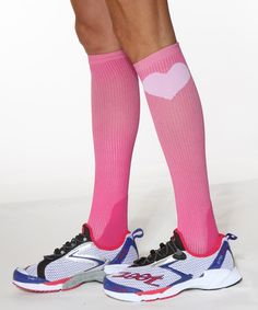 My new cute pink compression socks.  Totally wearing them for the Chicago Women's Half Marathon on June 24th!