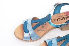 miMaO Eivissa Azul metal – Sandalias mujer tacón plataforma azul cómodo piel - Comfort women's sandals heel platform blue leather