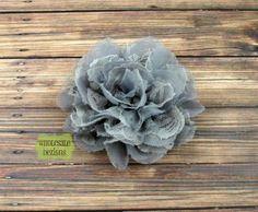 Chiffon and Lace Gray Flower - 4 inches. $2.00, via Etsy.