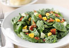 Spinach Salad with Bacon and Egg  ~  You can certainly pair this salad as a side to a soup, sandwich, or even a grilled chicken breast, but I enjoy it simply by itself with a warm biscuit or a piece of buttered corn bread on the side for a light dinner.
