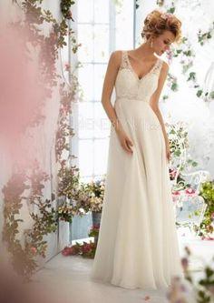 Chiffon Empire Taille Spitzen Zierperlen Brautkleid für Schwangere #Brautkleider #Wedding Dress schoenebraut.com