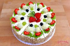 Savory sandwich cake, blue cheese, cream cheese, cheese, eggs, strawberry, olives, hazelnuts