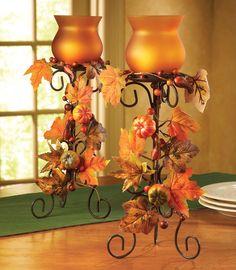 Fall Decor Harvest Votive Candle Holder Set