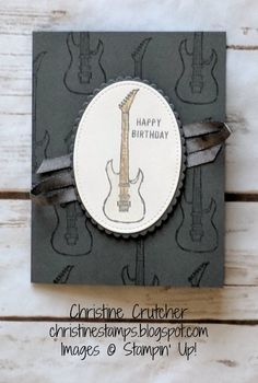 Stampin' Up! Sale-A-Bration 2018 Epic Celebrations stamp set and Shimmer Ribbon with Thoughtful Banners stamp set. Wink of Stella and Watercolor Pencils on the guitar. More details on my blog. Thanks for looking! #stampinup #epiccelebrations #saleabration2018