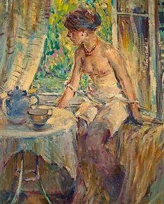 ~ Raymond Perry Rodgers Neilson ~ American artist, 1881-1964: Seated Nude At Tea