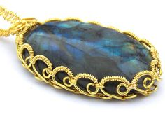 Gold Labradorite Pendant FREE UK DELIVERY by PhillipaJaneDesigns