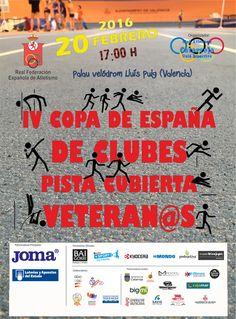 Cartel oficial de la Copa de España de clubes en pista cubierta de veteranos que se disputará en Valencia el 20 de febrero.
