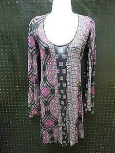 Jessica Simpson Purple Black Dress Boho Lace Rayon Knee Length Size Medium B260