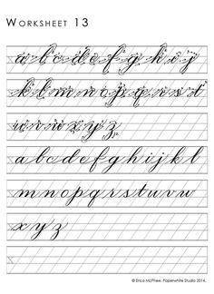 Lower cursive alphabet practice with tracing guide Cursive Handwriting Practice, Cursive Writing Worksheets, Calligraphy Worksheet, Calligraphy Tutorial, Copperplate Calligraphy, Handwriting Alphabet, Hand Lettering Alphabet, How To Write Calligraphy, Calligraphy Handwriting