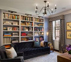 Couch in front of bookshelves