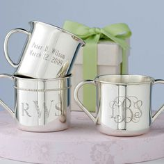 """Always a classic! This is my third purchase--one for each grandchild.  High quality heirloom with beautiful engraving."" -luv2bgr8, tucson, az  Reed  Barton Sterling Silver Baby Cups This monogram or personalized child's cup makes a great gift. #RossSimons"