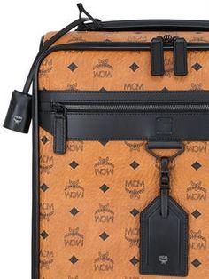 mcm - women - luggage - logo faux leather wheeled suitcase