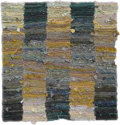 Green and Yellow Shaded Stripes hand knit rag rug, sold.  see more at www.rugsfromrags.com