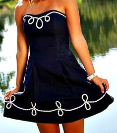adorable dress for recruitment, but you might want to add straps for recruitment so you don't have to worry abt keeping your dress UP ! Pretty Outfits, Cute Outfits, Nautical Fashion, Nautical Dress, Dressed To The Nines, Beach Wear, Bikini, Trends, Classy And Fabulous