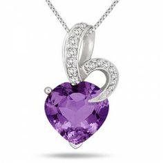 5.50 Carat Amethyst and Diamond Heart Pendant – $29