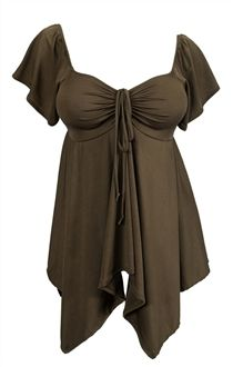 Slimming and shape flattering empire waist styling. Asymmetrical bottom features an extra large hip measurements for a comfortable fit. Deep cut v-neck line for that sensual look. Short sleeves with beautiful flowing cuffs. Ruched fabric detailing at bodice with self tie off drawstring. Available in Jr plus size 1XL, 2XL, 3XL.
